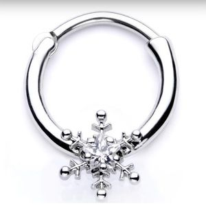 Body Candy 16G Snowflake septum ring NEW